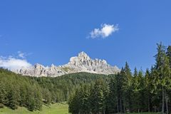The Latemar, a famous mountain in the Dolomites, South Tyrol, Trentino, Italy. The Latemar, a famous mountain in the Dolomites, on the border between South Tyrol stock photography