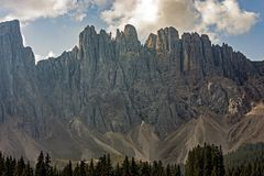 The Latemar, a famous mountain in the Dolomites, South Tyrol, Trentino, Italy. The Latemar, a famous mountain in the Dolomites, on the border between South Tyrol royalty free stock photography