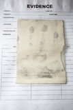 Latent fingerprint keep by forensic on evidence bag in crime scc Stock Photo