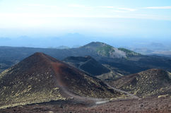 Lateral craters of the volcano Etna Royalty Free Stock Photos