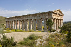 A lateral impressive view of the Doric temple of Segesta. A view of the beautiful ancient temple of Segesta Stock Photo