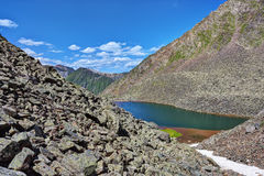 Lateral moraines and ribbon lake Stock Photo