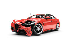 Lateral red car crash on a white background Stock Images