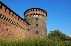 Lateral Sforza basztowy outside kasztel obrazy stock