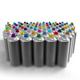 Lateral view of aerosol cans Royalty Free Stock Image