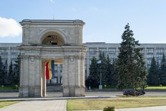 Moldova chisinau arc. Lateral view, The area of the National Assembly and the Arch of Triumph, Chisinau, Kisinev Moldova royalty free stock image