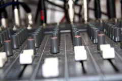 Lateral view of audio mixing board sliders Stock Photo