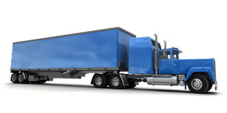 Lateral view of a big blue trailer truck. Against white background royalty free illustration