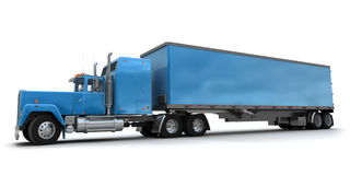 Lateral view of a big blue trailer truck Royalty Free Stock Photography