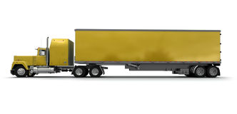 Lateral view of a big yellow trailer truck Royalty Free Stock Photography