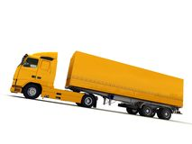 Lateral view of a big yellow truck Stock Images