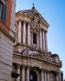 Lateral view on the facade of Saint Vincenzo and Anastasio church in Rome, Italy Stock Image