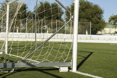 Lateral view of goal post in a soccer field Royalty Free Stock Images