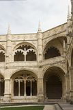 Lateral view of the internal cloister of Jeronimos Monastery Royalty Free Stock Images