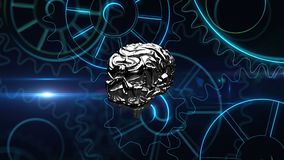 Brain technology. Lateral view of a metallic silver human brain rotating with cog wheels animation zooming in towards the screen vector illustration