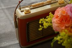 Bunch of flowers, red retro radio on grey background. old retro radio is paired with rose and lady`s mantle on grey floor. royalty free stock images