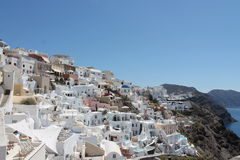 Lateral view Oia. Lateral view of Oia in santorini islan Stock Photos
