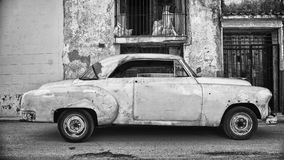 Lateral view of old car. Parked in a street of Havana Stock Image