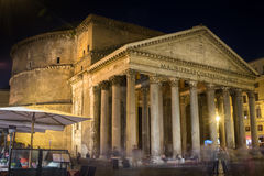 Lateral view on Pantheon facade at night, Rome Italy Stock Image