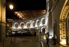 Lateral view of Rossio Station building at night Stock Image