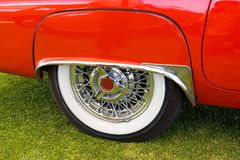 Lateral vintage car. Lateral red american vintage car, white wheel Stock Photos