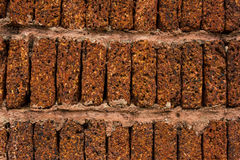 Laterite brick wall background. Red-brown laterite brick wall background stock image