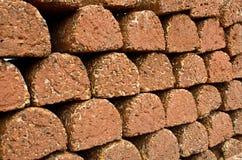 Laterite brick wall. Red-brown brick ( laterite ) wall Stock Photo