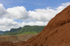 Laterite ores Stockpile. Used in the cement industry Stock Images