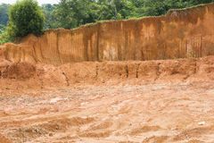 Laterite soil excavation site for sale. Construction royalty free stock images