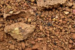 Laterite soil. Textured background and is mostly of the iron oxide and aluminum Royalty Free Stock Image