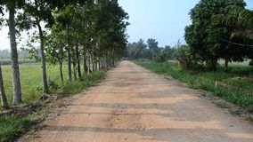 Lateritic road at countryside. In Phatthalung, Thailand stock footage