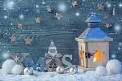 Latern branden en Kerstmisdecoratie Royalty-vrije Stock Afbeelding