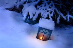 Latern with Snow Stock Image