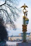 Laterne auf Panteleymonovsky-Brücke Stockfotografie