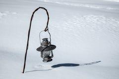 Laterne begraben nach einem großen Schnee Lizenzfreies Stockbild