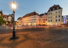 Laterne in der alten Stadt von Dresden am Abend deutschland Stockbild