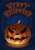 Laterne der Halloween-Kürbissteckfassung O mit furchtsamem Ausdruck auf blauem s Lizenzfreie Stockfotografie
