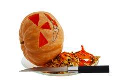 Laterne der Halloween-Steckfassung O, die Kürbis schnitzt Lizenzfreie Stockfotos