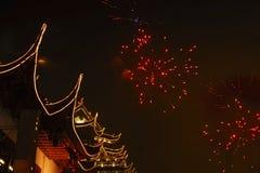 Laterne-Festival mit Feuerwerken Stockbild
