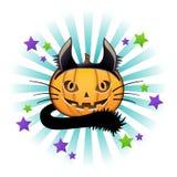 Laterne Halloween-Kürbis Jack-O in den Kosten der schwarzen Katze Stockfotos