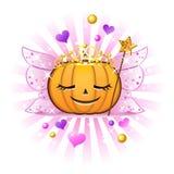 Laterne Halloween-Kürbis Jack-O in der feenhaften Prinzessin Stockfotos