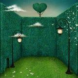 Laterne im grünen Raum lizenzfreie abbildung