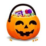 Laterne Jack-O voll der Süßigkeit lizenzfreie abbildung