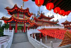 Laternen-Dekoration an Tempel Thean Hou Stockbild