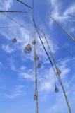 Laternen, die in den Himmel schwimmen Lizenzfreies Stockbild