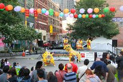 Laternen-Festival in Boston Chinatown von 2018, Lion Dancing stockfoto