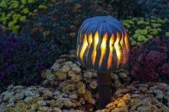 Laternen-Halloween-Symbol des Kürbises glühendes mit Kopienraum auf Chrysanthemenhintergrund Stockfoto