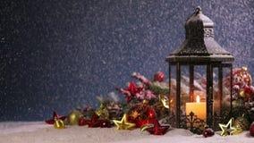 Laternen- und Weihnachtsdekoration stock footage