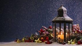 Laternen- und Weihnachtsdekoration stock video footage