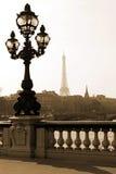 Laternenpfahl auf der Brücke in Paris Stockbild